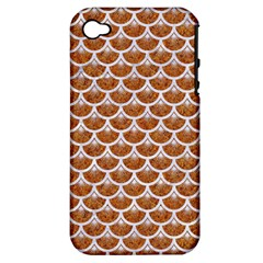 Scales3 White Marble & Rusted Metal Apple Iphone 4/4s Hardshell Case (pc+silicone) by trendistuff