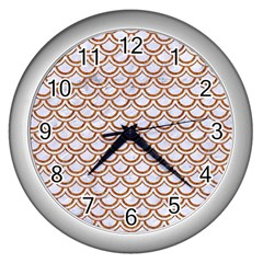 Scales2 White Marble & Rusted Metal (r) Wall Clocks (silver)