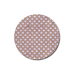 Scales2 White Marble & Rusted Metal (r) Rubber Coaster (round)  by trendistuff