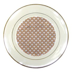 Scales2 White Marble & Rusted Metal (r) Porcelain Plates by trendistuff