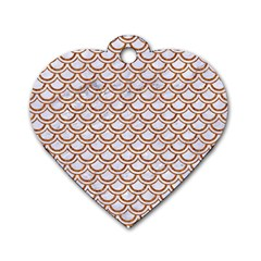 Scales2 White Marble & Rusted Metal (r) Dog Tag Heart (two Sides) by trendistuff