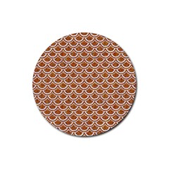 Scales2 White Marble & Rusted Metal Rubber Round Coaster (4 Pack)  by trendistuff