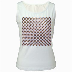 Scales1 White Marble & Rusted Metal (r) Women s White Tank Top by trendistuff