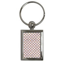 Scales1 White Marble & Rusted Metal (r) Key Chains (rectangle)  by trendistuff