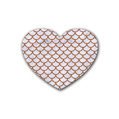 Scales1 White Marble & Rusted Metal (r) Heart Coaster (4 Pack)  by trendistuff