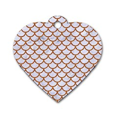 Scales1 White Marble & Rusted Metal (r) Dog Tag Heart (two Sides) by trendistuff