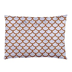 Scales1 White Marble & Rusted Metal (r) Pillow Case by trendistuff