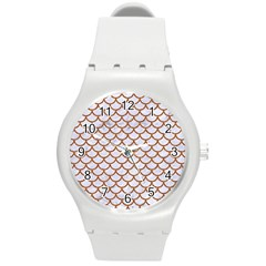 Scales1 White Marble & Rusted Metal (r) Round Plastic Sport Watch (m) by trendistuff