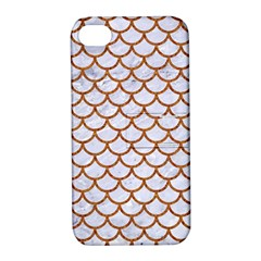 Scales1 White Marble & Rusted Metal (r) Apple Iphone 4/4s Hardshell Case With Stand by trendistuff