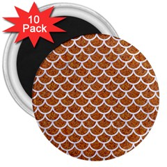 Scales1 White Marble & Rusted Metal 3  Magnets (10 Pack)  by trendistuff