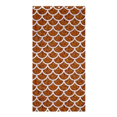 Scales1 White Marble & Rusted Metal Shower Curtain 36  X 72  (stall)  by trendistuff