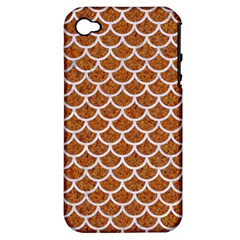 Scales1 White Marble & Rusted Metal Apple Iphone 4/4s Hardshell Case (pc+silicone) by trendistuff