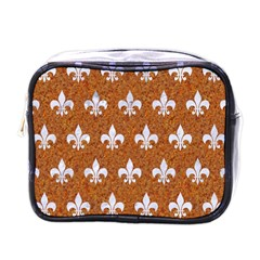 Royal1 White Marble & Rusted Metal (r) Mini Toiletries Bags by trendistuff