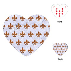 Royal1 White Marble & Rusted Metal Playing Cards (heart)  by trendistuff
