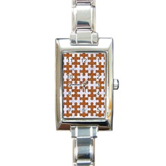 Puzzle1 White Marble & Rusted Metal Rectangle Italian Charm Watch by trendistuff