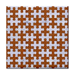 Puzzle1 White Marble & Rusted Metal Tile Coasters by trendistuff