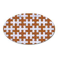 Puzzle1 White Marble & Rusted Metal Oval Magnet by trendistuff