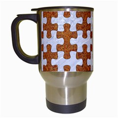 Puzzle1 White Marble & Rusted Metal Travel Mugs (white) by trendistuff
