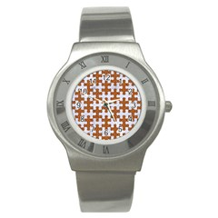 Puzzle1 White Marble & Rusted Metal Stainless Steel Watch by trendistuff