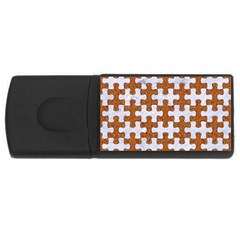 Puzzle1 White Marble & Rusted Metal Rectangular Usb Flash Drive by trendistuff