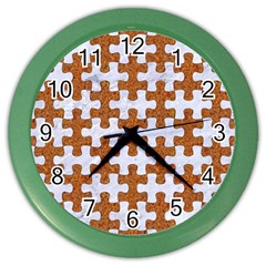 Puzzle1 White Marble & Rusted Metal Color Wall Clocks by trendistuff