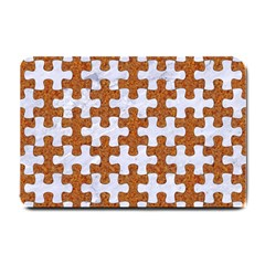 Puzzle1 White Marble & Rusted Metal Small Doormat  by trendistuff