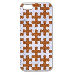 Puzzle1 White Marble & Rusted Metal Apple Seamless Iphone 5 Case (clear) by trendistuff