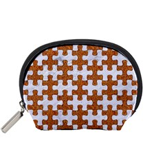 Puzzle1 White Marble & Rusted Metal Accessory Pouches (small)  by trendistuff
