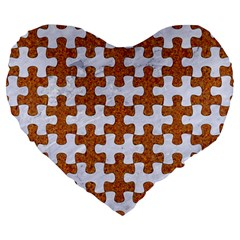 Puzzle1 White Marble & Rusted Metal Large 19  Premium Flano Heart Shape Cushions