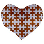 PUZZLE1 WHITE MARBLE & RUSTED METAL Large 19  Premium Flano Heart Shape Cushions Back