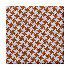 Houndstooth2 White Marble & Rusted Metal Tile Coasters by trendistuff