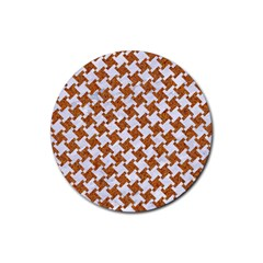 Houndstooth2 White Marble & Rusted Metal Rubber Round Coaster (4 Pack)  by trendistuff