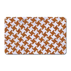 Houndstooth2 White Marble & Rusted Metal Magnet (rectangular) by trendistuff