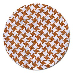 Houndstooth2 White Marble & Rusted Metal Magnet 5  (round) by trendistuff