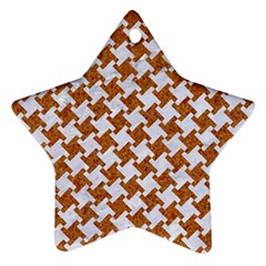 Houndstooth2 White Marble & Rusted Metal Star Ornament (two Sides) by trendistuff