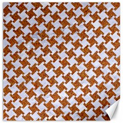 Houndstooth2 White Marble & Rusted Metal Canvas 16  X 16   by trendistuff