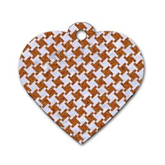 Houndstooth2 White Marble & Rusted Metal Dog Tag Heart (two Sides) by trendistuff