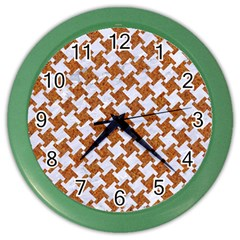 Houndstooth2 White Marble & Rusted Metal Color Wall Clocks by trendistuff