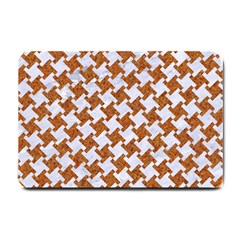 Houndstooth2 White Marble & Rusted Metal Small Doormat  by trendistuff