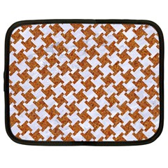 Houndstooth2 White Marble & Rusted Metal Netbook Case (large) by trendistuff