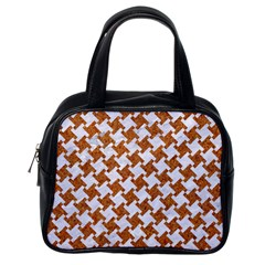 Houndstooth2 White Marble & Rusted Metal Classic Handbags (one Side) by trendistuff