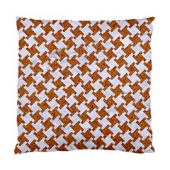 Houndstooth2 White Marble & Rusted Metal Standard Cushion Case (one Side) by trendistuff