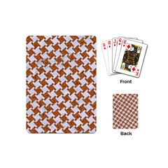 Houndstooth2 White Marble & Rusted Metal Playing Cards (mini)  by trendistuff