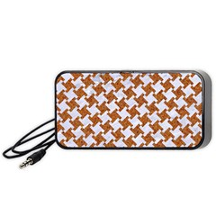 Houndstooth2 White Marble & Rusted Metal Portable Speaker by trendistuff