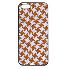 Houndstooth2 White Marble & Rusted Metal Apple Iphone 5 Seamless Case (black) by trendistuff