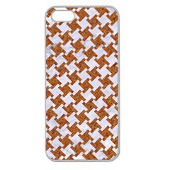 Houndstooth2 White Marble & Rusted Metal Apple Seamless Iphone 5 Case (clear) by trendistuff