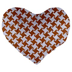 Houndstooth2 White Marble & Rusted Metal Large 19  Premium Heart Shape Cushions by trendistuff