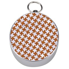 Houndstooth2 White Marble & Rusted Metal Silver Compasses by trendistuff