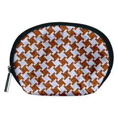 Houndstooth2 White Marble & Rusted Metal Accessory Pouches (medium)  by trendistuff