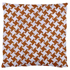 Houndstooth2 White Marble & Rusted Metal Large Flano Cushion Case (two Sides) by trendistuff